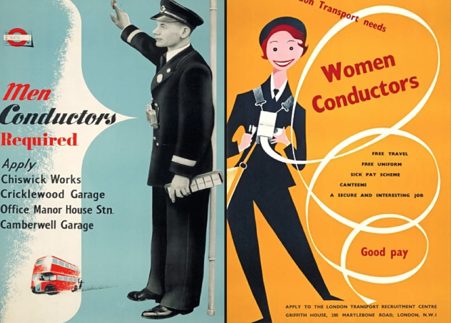 posters for men and women conductors in UK