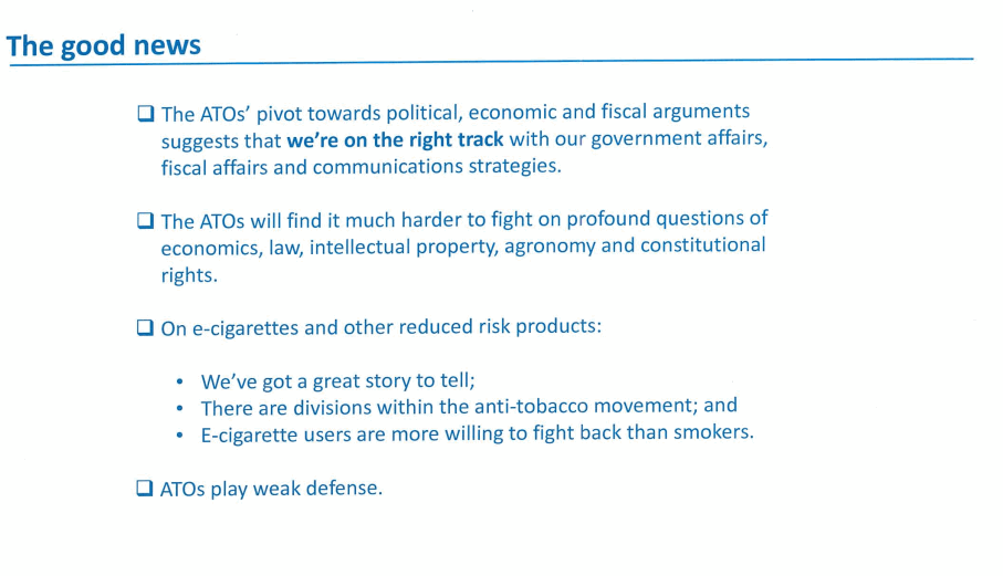 A slide from a Philip Morris International presentation on how e-cigarettes fit into their future strategy