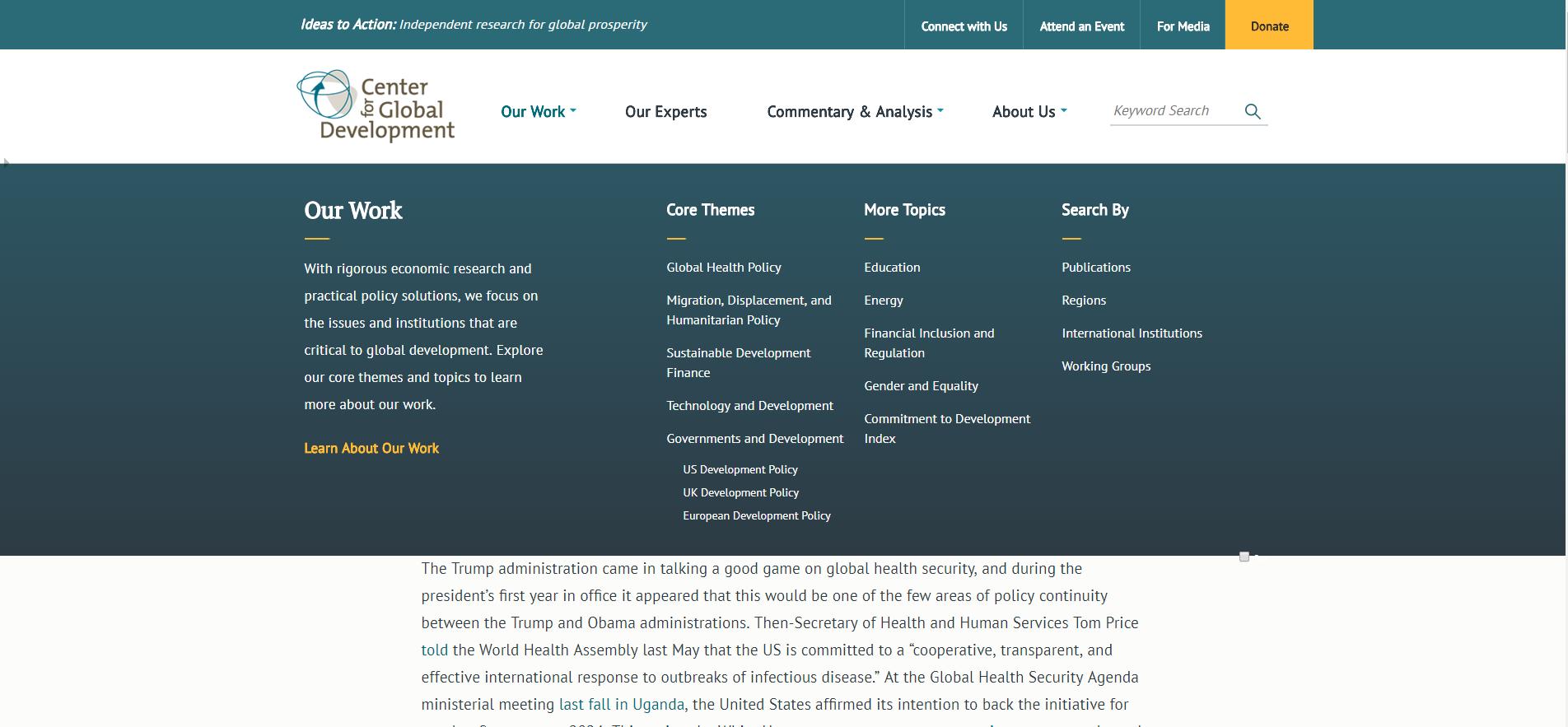 Screenshot of new main menu on CGD site