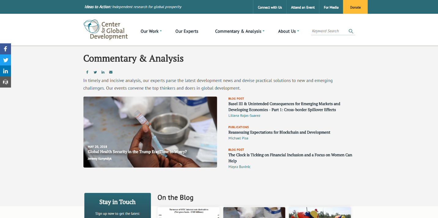 Screenshot of new commentary and analysis section on CGD site