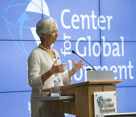 Christine Lagarde speaking at CGD in 2014