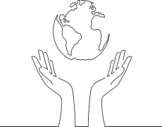 Image of hands holding a globe, representing climate change