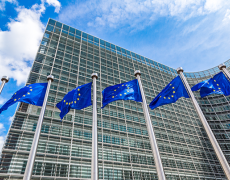 An image showing European flags outside of an EU building