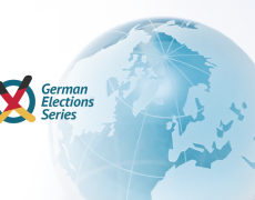 A graphic of globe with the slogan: German Election Series