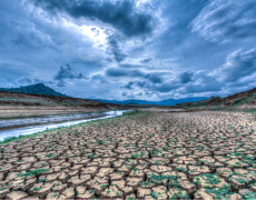 An image showing a landscape experiencing drought as a result of climate change..