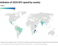 A map showing distribution of 2020 DFC spend by country