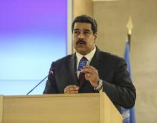 Nicolás Maduro speaks at a UN Human Rights Council meeting in 2015.
