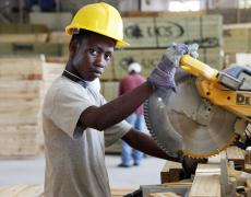 A worker at a factory run by the United Nations Office for Project Services (UNOPS) in Port au Prince, Haiti.