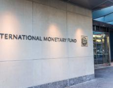 The entrance to the IMF building. Adobe Stock