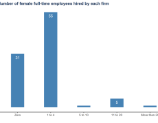 A bar chart showing the number of female full-time employees hired by each Nigerian tech firm surveyed