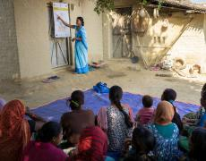Female Community Health Worker Jharana Kumari Tharu councils a group of women, including expectant mothers and those who have recently delivered, on good health practices in Binauna village, in Nepalís Banke District.