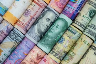 Various international currencies lined up