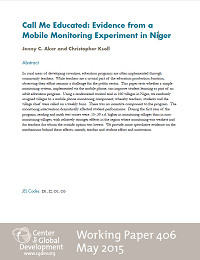 Call Me Educated: Evidence from a Mobile Monitoring Experiment in Niger - Working Paper 406